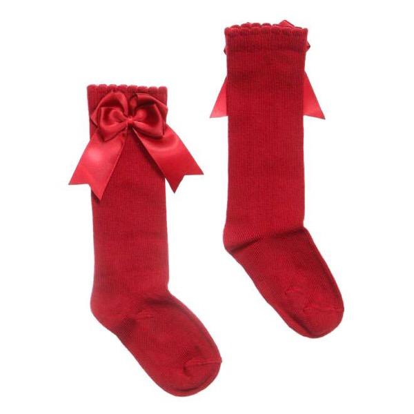 Tambino Double Satin Bow Socks, Red