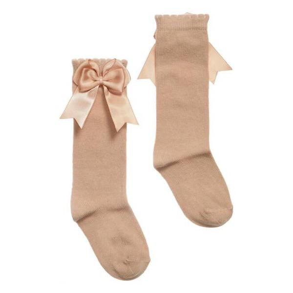 Tambino Double Satin Bow Socks, Camel