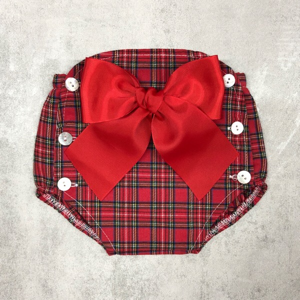 Tartan Bow Jam Pants, Red