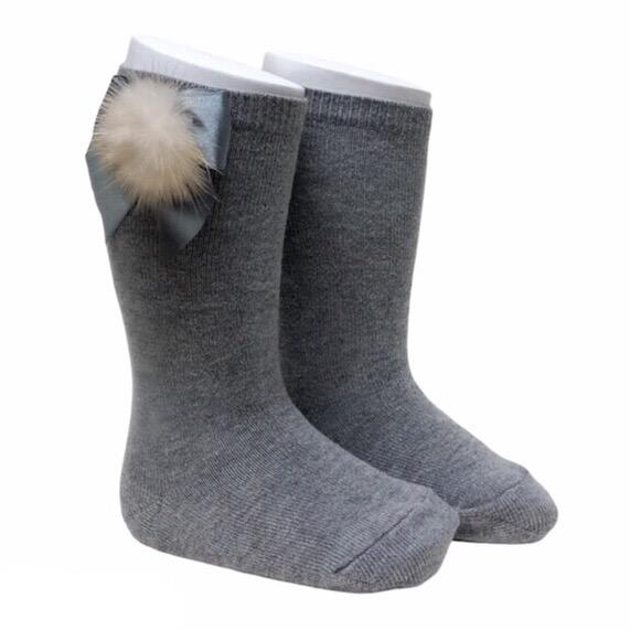 Meia Pata Fur Bow Socks, Grey