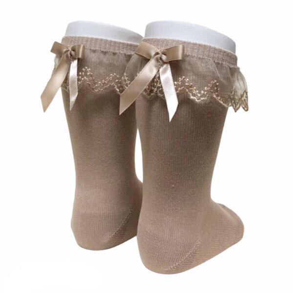 Meia Pata Tulle Frill Socks, Camel
