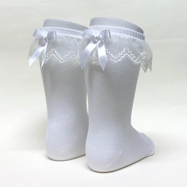Meia Pata Tulle Frill Socks, White