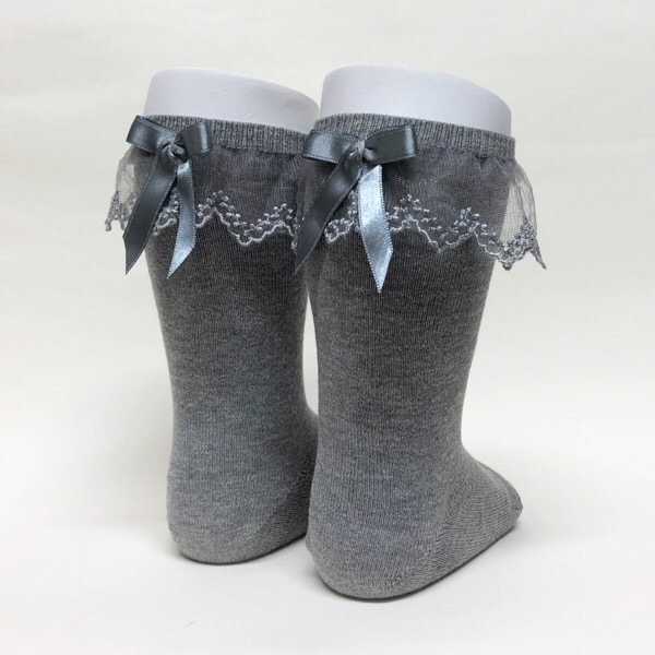 Meia Pata Tulle Frill Socks, Grey
