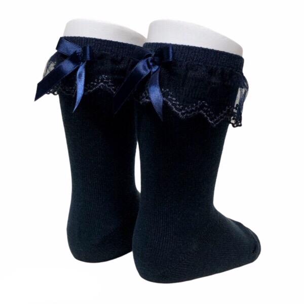 Meia Pata Tulle Frill Socks, Navy