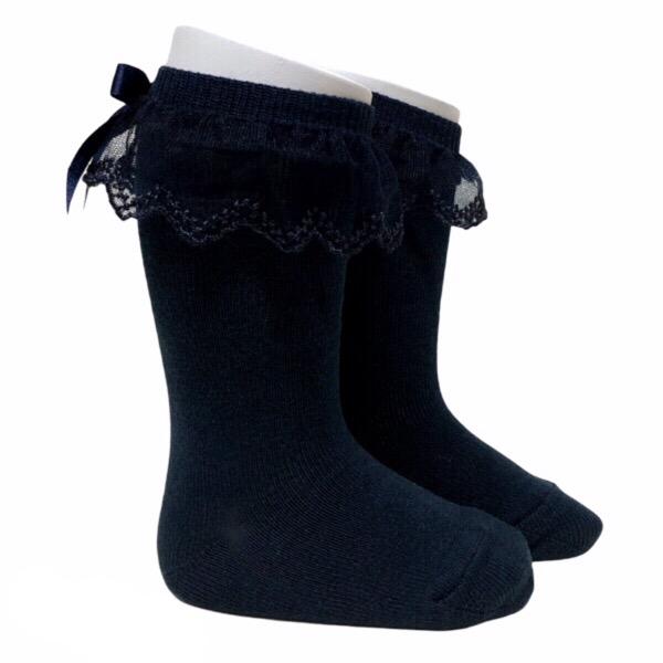 Meia Pata Tulle Frill Socks, Black