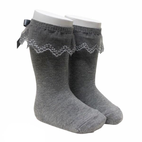 Meia Pata Tulle Frill Socks, Grey