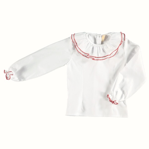Chua Ivory & Red Blouse