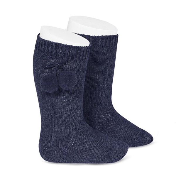 Tambino Knee High Pom Pom Socks, Navy