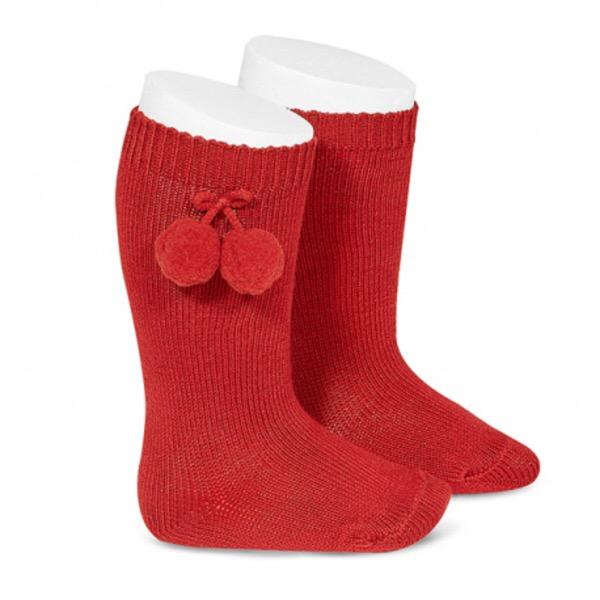 Tambino Knee High Pom Pom Socks, Red