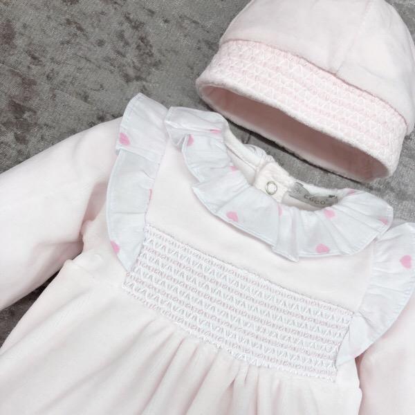 Coco Pink Smocked Babygrow