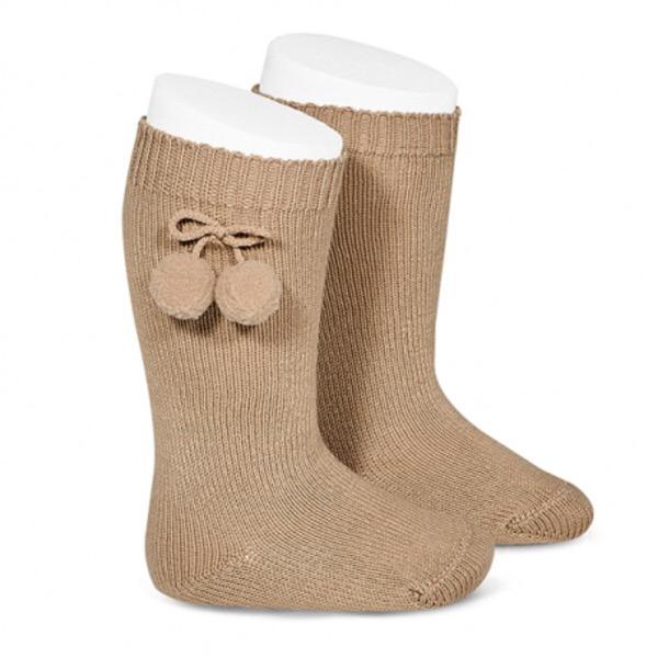 Tambino Knee High Pom Pom Socks, Camel