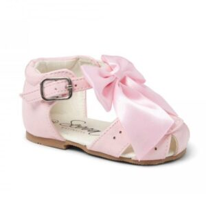 girls pink sandals with bow