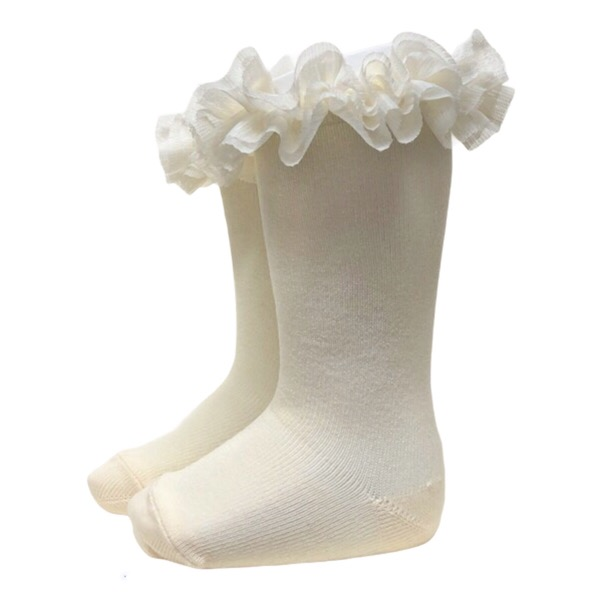 Meia Pata Tulle Tutu Socks, Cream