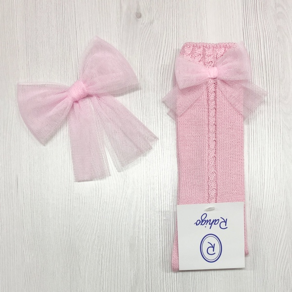 Rahigo Pink Tulle Hair Bow & Socks Set