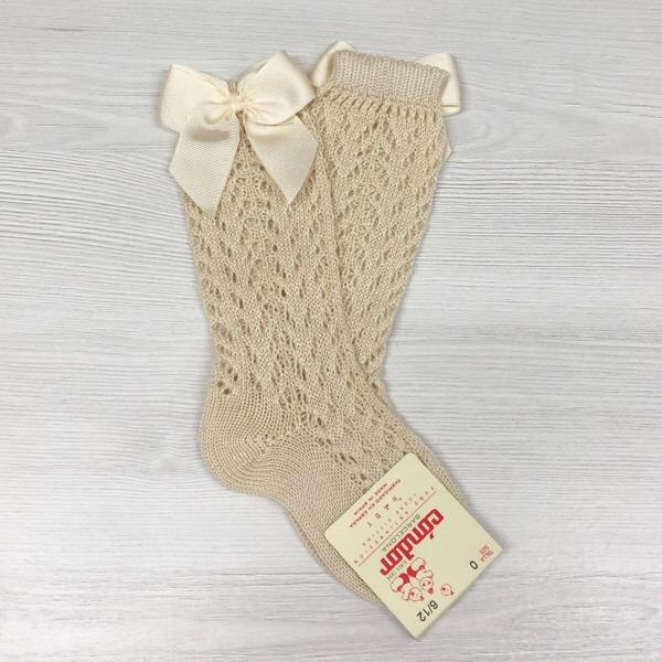 Condor Perle Open Work Knee Socks, Linen