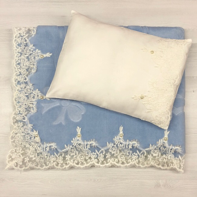 Lace Blanket Set, Blue