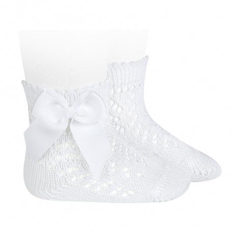 Condor Perle Open Work Ankle Socks, White
