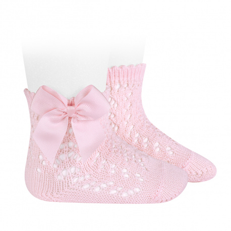 Condor Perle Open Work Ankle Socks, Pink