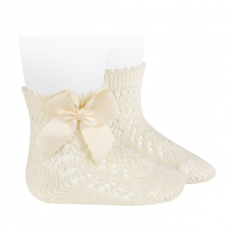 Condor Perle Open Work Ankle Socks, Cream