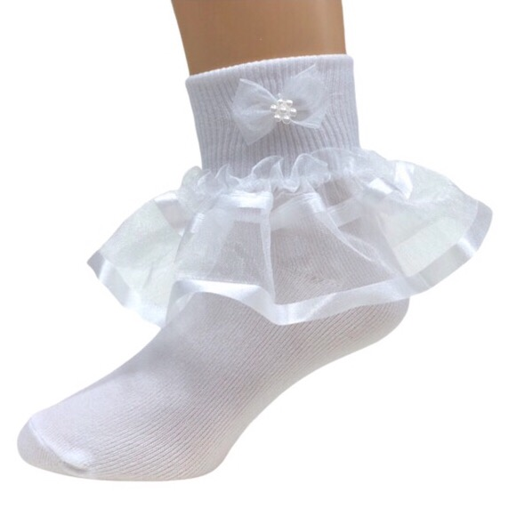 Organza Frill Socks, White