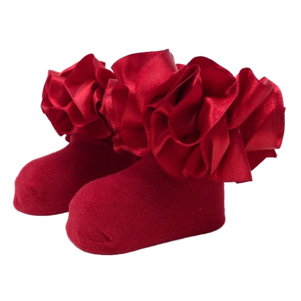 Caramelo Kids Ankle Ruffle Socks, Red