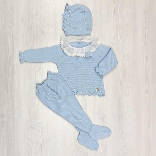 Juliana knitted Baby Set, Blue