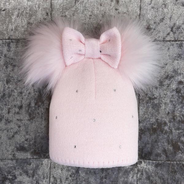 Kinder Bow Pom Pom Hat, Pink