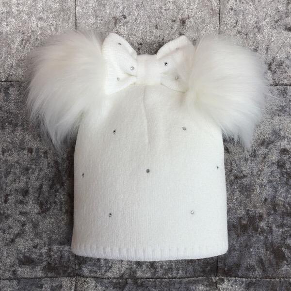 Kinder Bow Pom Pom Hat, White