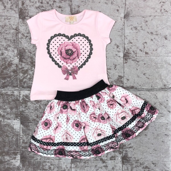 Caramelo Pink Rose Skirt Set