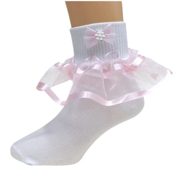 Organza Frill Socks, Pink