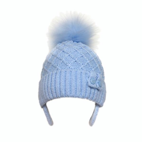 Kinder Blue Pom Pom Hat