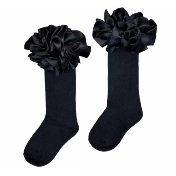 Caramelo Knee High Ruffle Socks, Black