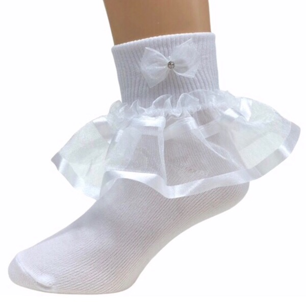 Organza Ankle Socks, White