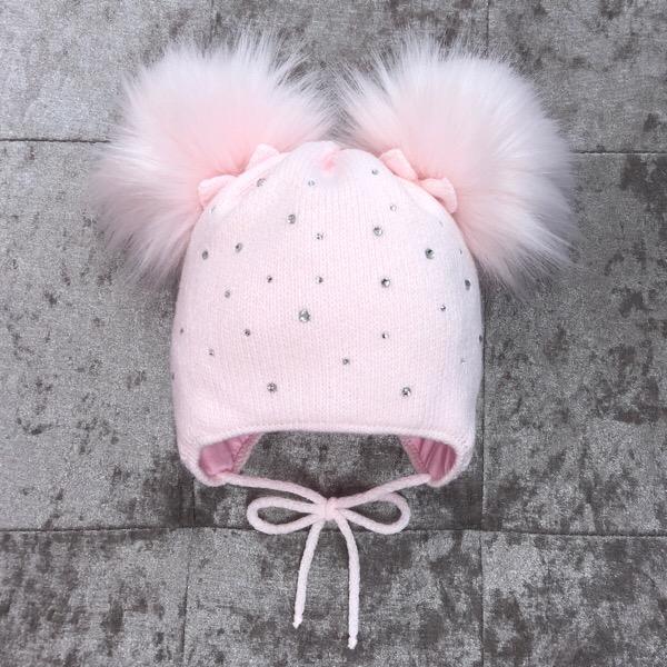 Kinder Fur Pom Pom Hat, Pink