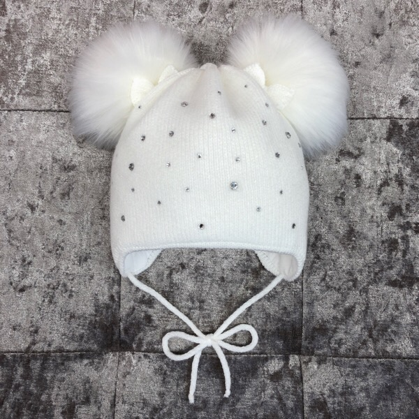Kinder Fur Pom Pom Hat, White