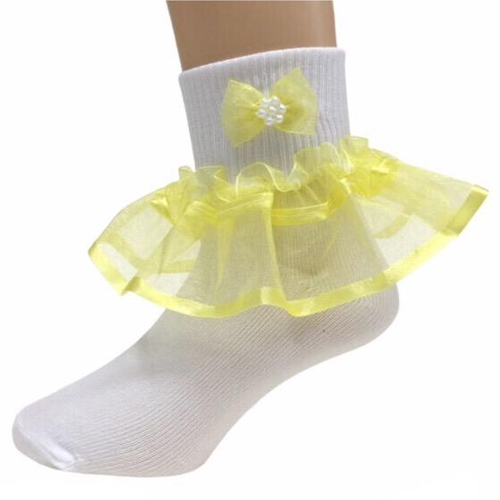 Organza Frill Socks, Lemon