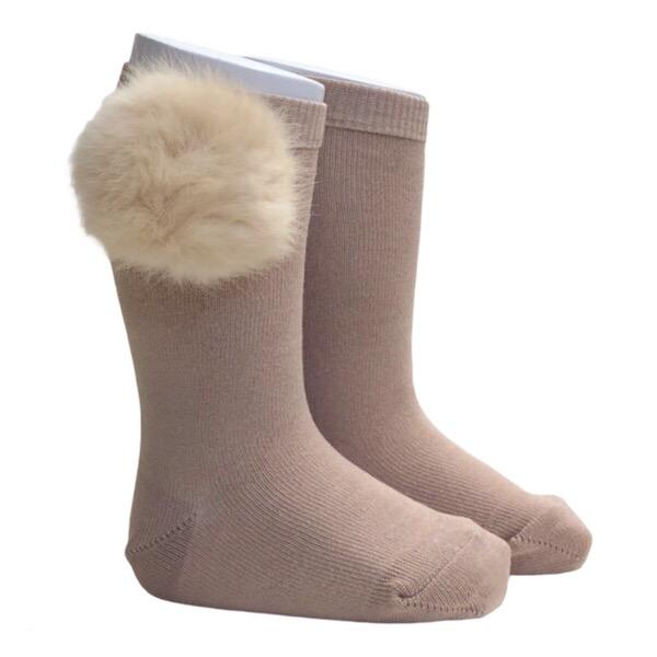 Meia Pata Fur Pom Pom Socks, Camel