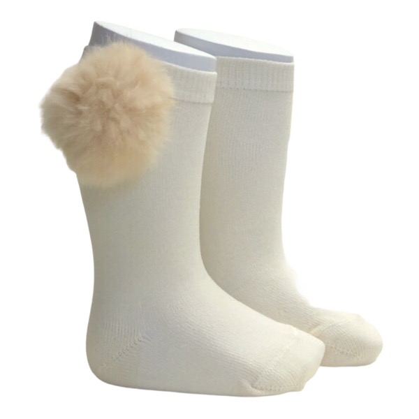 Meia Pata Fur Pom Pom Socks, Cream