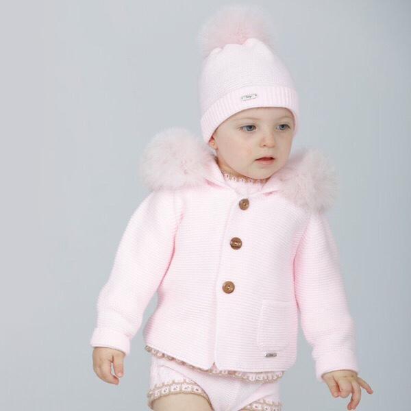 Rahigo Pink Fur Coat & Hat Set
