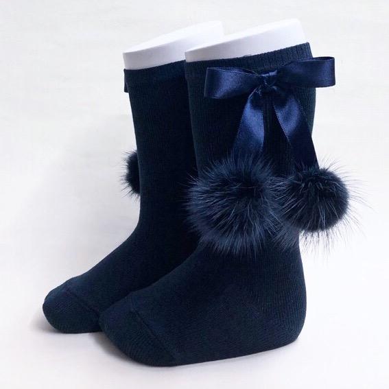 Meia Pata Mink Bow Socks, Navy