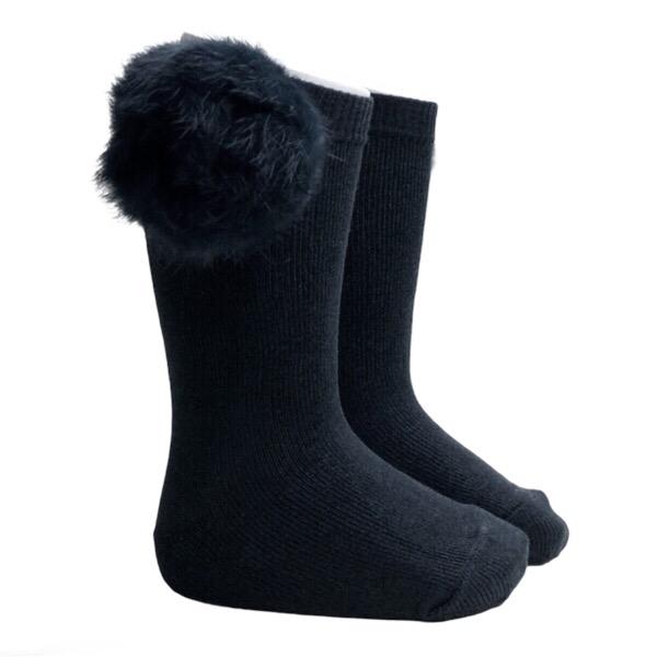 Meia Pata Fur Pom Pom Socks, Black