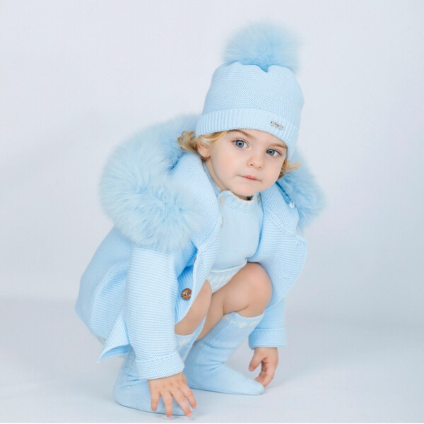 Rahigo Blue Fur Coat & Hat Set