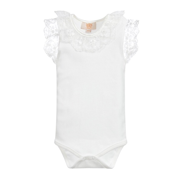 Caramelo Kids Lace Trim Bodysuit, Ivory