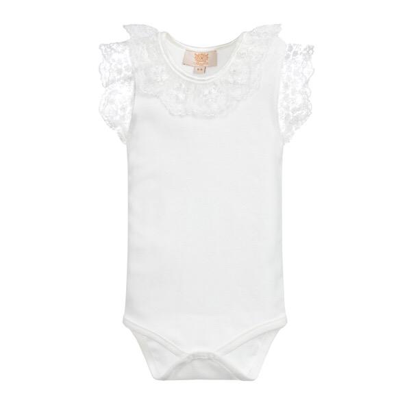 Caramelo Lace Trim Bodysuit, Ivory