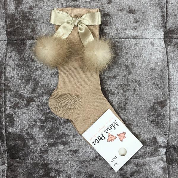Meia Pata Mink Bow Socks, Camel