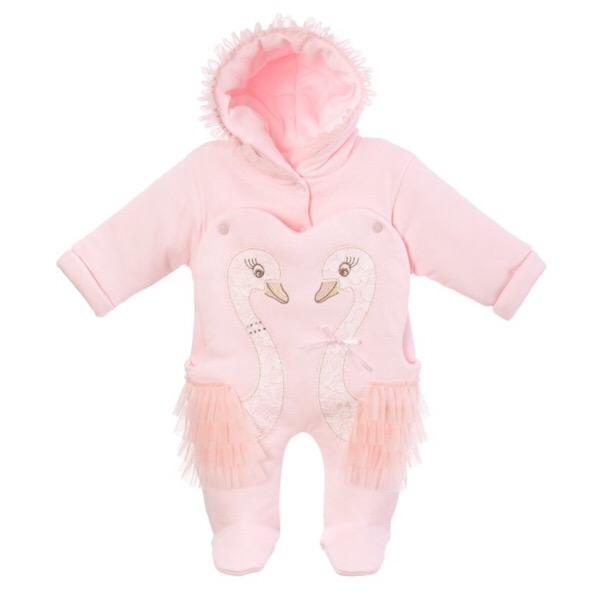 Sofija Pink Swan Pram Suit