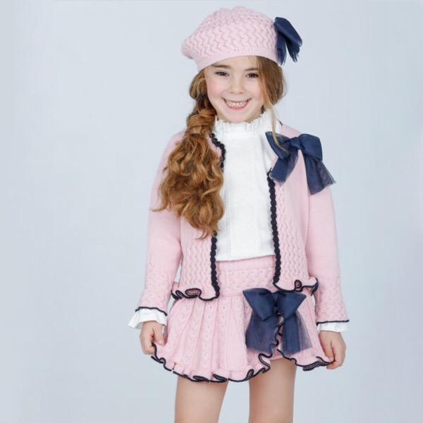 Rahigo Pink & Navy Tulle Skirt Set