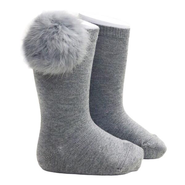 Meia Pata Fur Pom Pom Socks, Grey