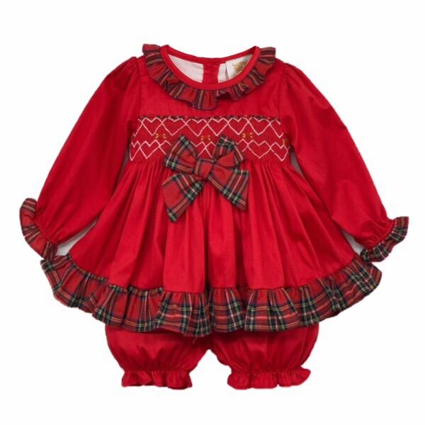 Caramelo Kids Red Smocked Girls Pj Set