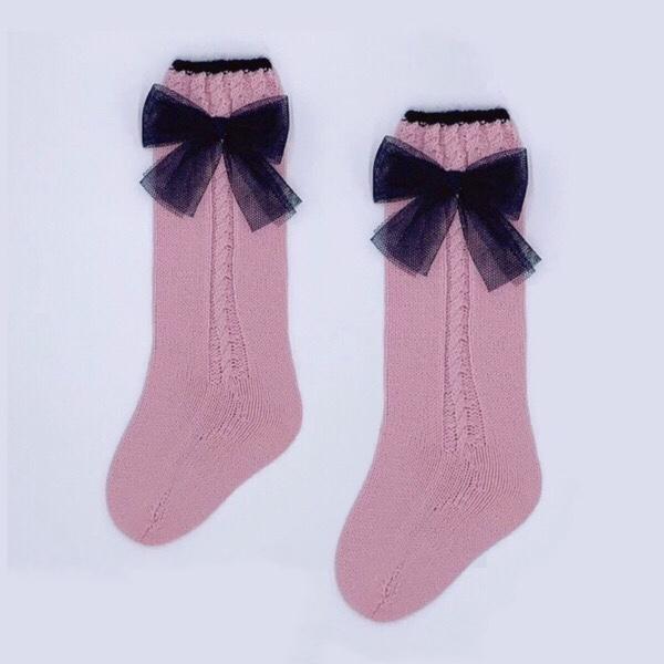 Rahigo Pink & Navy Tulle Knee High Socks